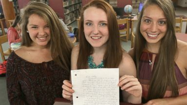 PHOTO: Three Massachusetts high school students, Mollykate Rodenbush, Brittany Tainsh, and Michaela Arguin are pictured with a handwritten letter from Whitey Bulger, June 19, 2015.