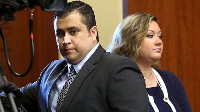 PHOTO: George Zimmerman arrives with his wife Shellie, on the 11th day of his trial in Seminole circuit court June 24, 2013 in Sanford, Fla.