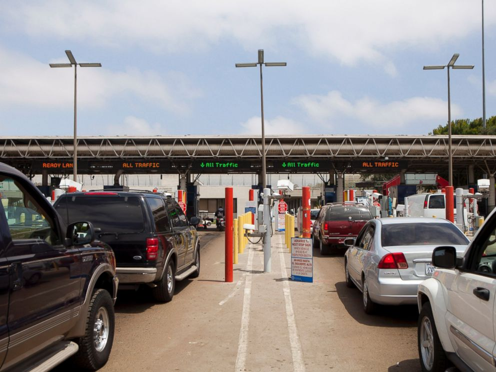 PHOTO: Cars that have just crossed into the U.S. from Mexico wait to speak to a U.S. Customs and Border Protection (CBP) officer at the Otay Mesa Port of Entry in San Diego, California, U.S., on Friday, June 7, 2013.