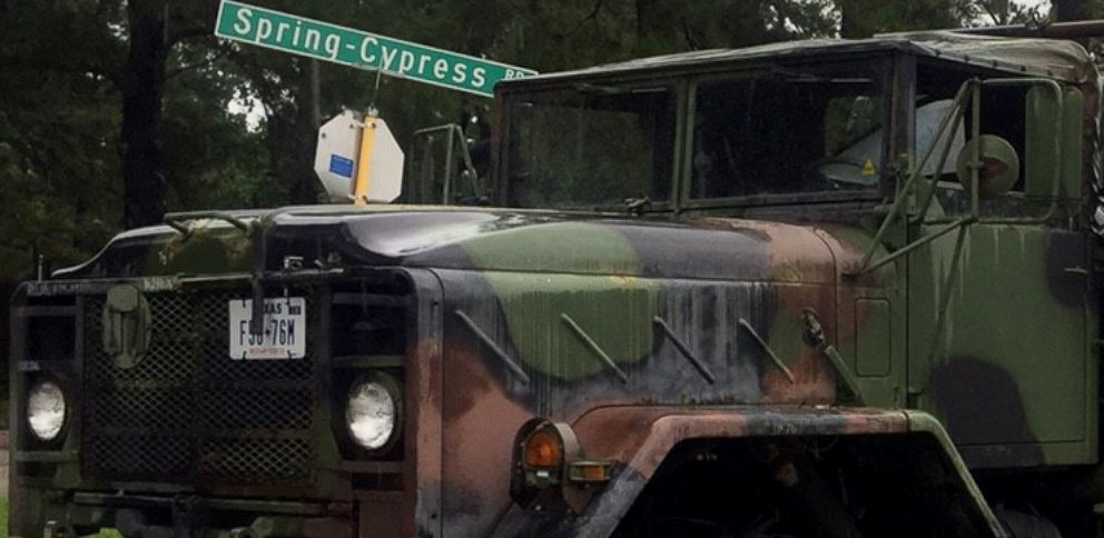 PHOTO: Civilian-owned trucks that were formerly used by the U.S. military are also being used for volunteer-conducted rescue missions.