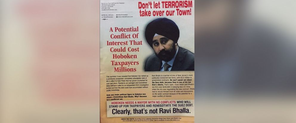 "PHOTO: Flyers distributed in Hoboken with the headline ""Dont let TERRORISM take over our Town!"" above a picture of City Councilman Ravi Bhalla who is running for mayor of Hoboken."