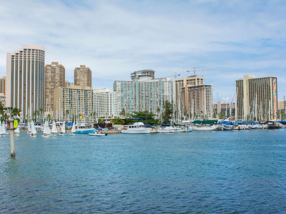 PHOTO: The skyline of Honolulu is captured from a boat marina.