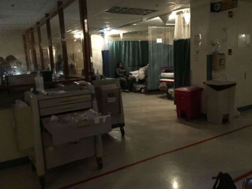 PHOTO: The emergency room at the Centro Medico in San Juan, Puerto Rico on Sept 7, 2017 during a temporary power outage. Power was restored 30 minutes later.