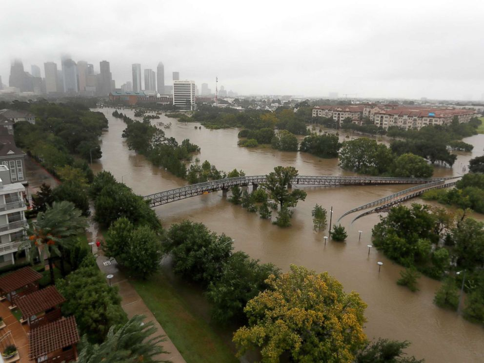 PHOTO: An overhead view of the flooding in Houston, from Buffalo Bayou on Memorial Drive and Allen Parkway, Aug. 28, 2017