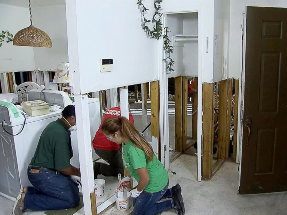 PHOTO: Houston: Volunteers work to rebuild a house in Houston damaged by Hurricane Harvey.