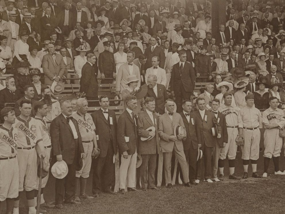 PHOTO: President Woodrow Wilson was in the stands behind the Democratic and Republican squads at the eighth annual Congressional Baseball Game.