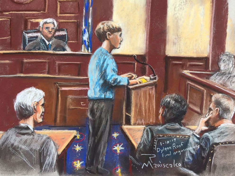 PHOTO: Dylann roof represents himself during the sentencing phase of his federal trial, Jan. 10, 2017, in Charleston, S.C.