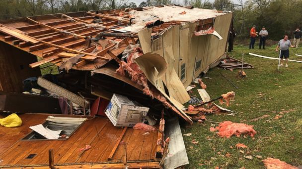 PHOTO: There was a storm related death in Whitmire, S.C. The victim, a white male in his mid-60s, was in his mobile home when the storm struck it and the home flipped several times. The location of the house is on Eaves Rd. just off of Hwy 176.