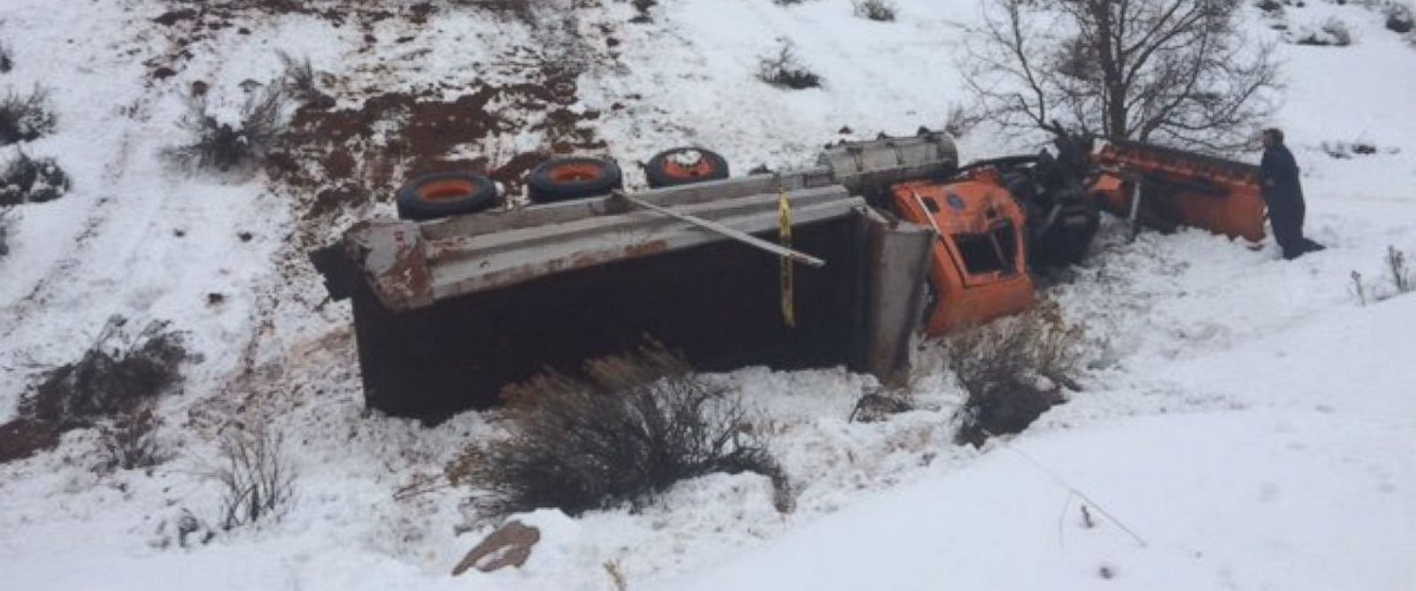 PHOTO: A snow plow driver suffered serious injuries after he was run off the road by a semi-truck, according to the Utah Department of Transportation.