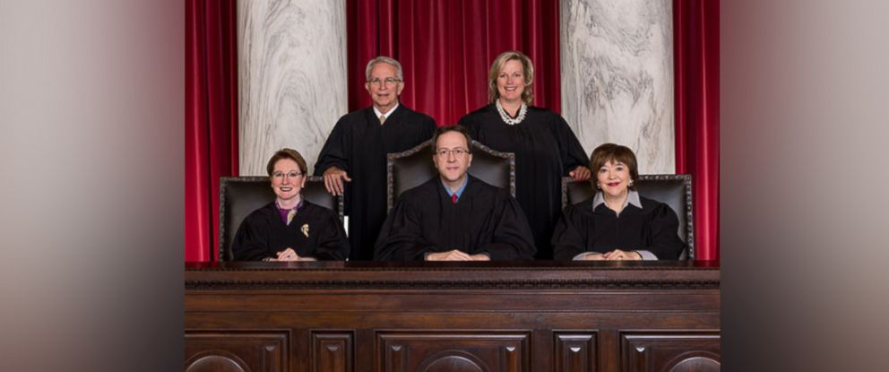 PHOTO: The Supreme Court of Appeals of West Virginia (L-R) Justice Robin Jean Davis, Justice Menis E. Ketchum, II, Chief Justice Allen H. Loughry II, Justice Elizabeth D. Walker and Justice Margaret L. Workman.