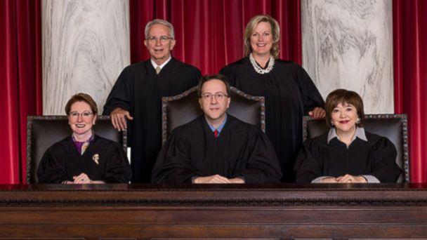 PHOTO: The Supreme Court of Appeals of West Virginia (L-R) Justice Robin Jean Davis, Justice Menis E. Ketchum, II, Chief Justice Allen H. Loughry II, Justice Elizabeth D. Walker and Justice Margaret L. Workman.