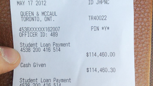 PHOTO: Alex Kenjeev recently paid his $114,460 student loan in cash.