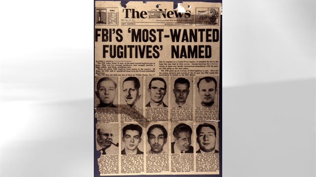 "PHOTO: The List was set up in 1950 following a 1949 newspaper article entitled ""FBI's Most Wanted Fugitives Named"" appeared in The Washington Daily News."