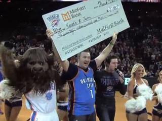 Fan Scores Half-Court Shot, Wins $20K for Wife's Cancer Treatment