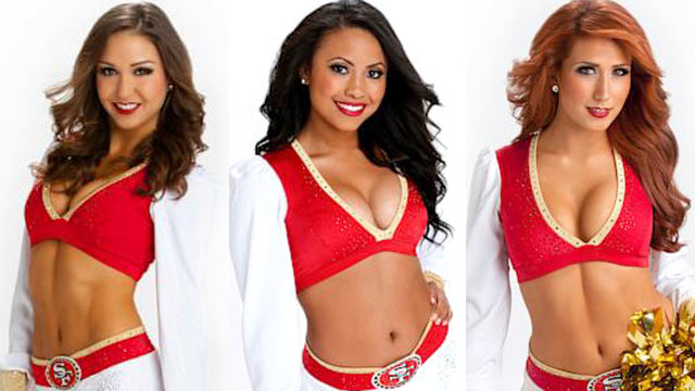PHOTO: Football 49er's cheerleaders, Francesca, Tyesha, and Lyndsey are all headed to the Superbowl to cheer on their team the San Francisco 49er's, Feb. 3, 2013.