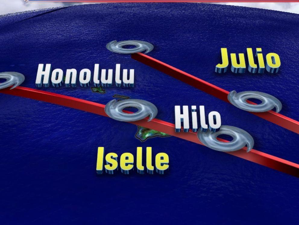 FOTO: El Camino de previsión de tormentas Iselle y Julio, que amenazan Hawai.