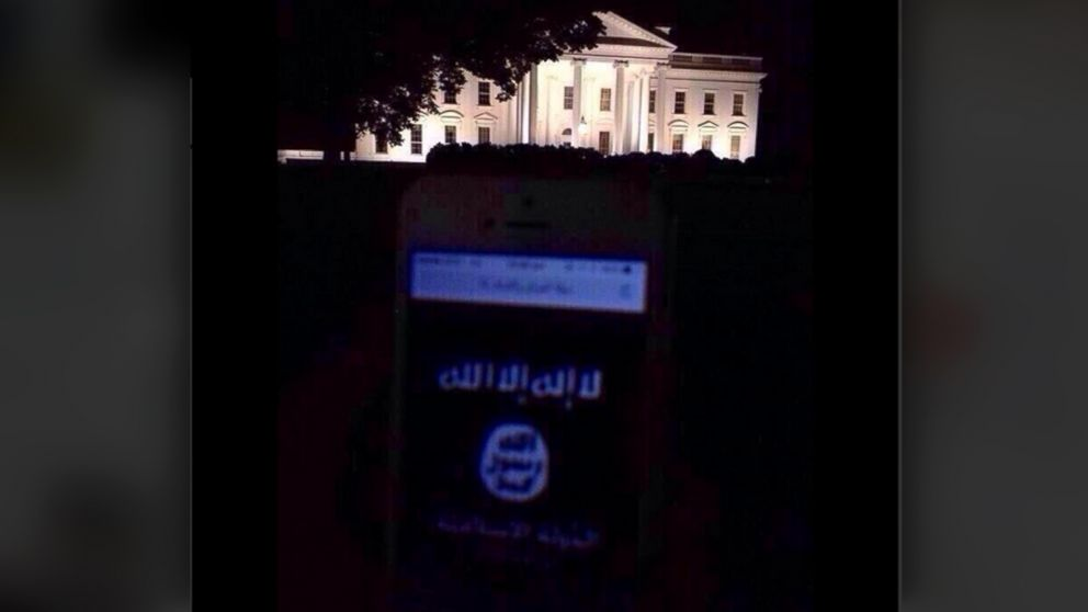 "PHOTO: This photo, apparently taken in front of the White House, was posted to Twitter with the caption, ""#AmessagefromISIStoUS We are in your state We are in your Cities We are in your streets You are our goals anywhere."""