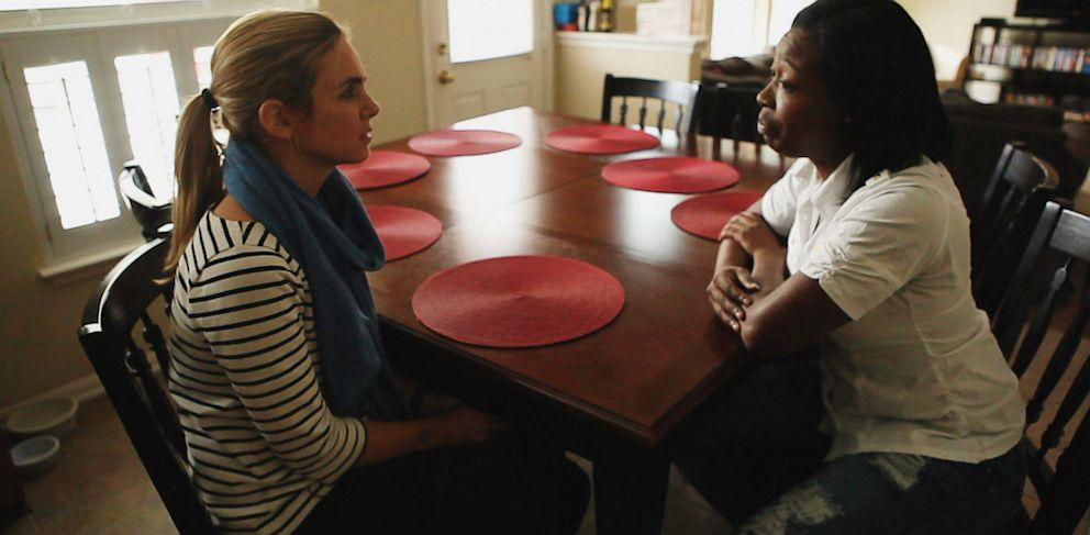 PHOTO: Fusions Mariana van Zeller (left), interviews Tresean, a sex trafficking survivor.
