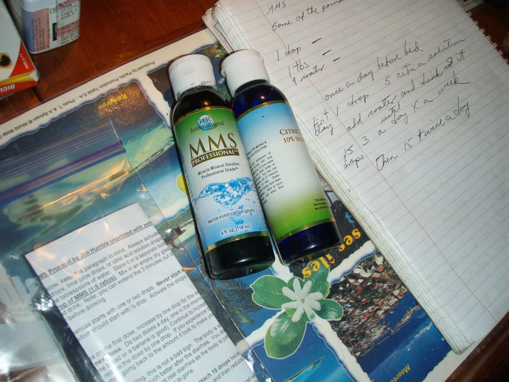PHOTO: A photo taken by Doug Nash shows the bottles of MMS he said were purchased by his wife while they were sailing in the south Pacific.