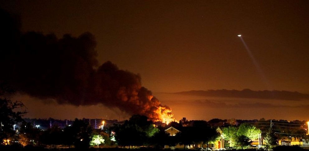 PHOTO: Several large propane tanks exploded at a gas plant in Tavares, Fla., on July 29, 2013.