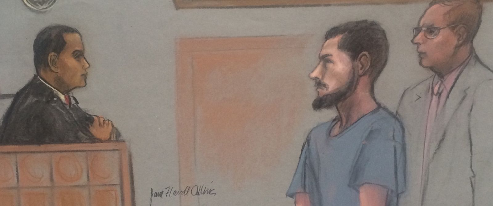 PHOTO: A Sketch of Nicholas Rovinski in court in Boston on June 12, 2015.