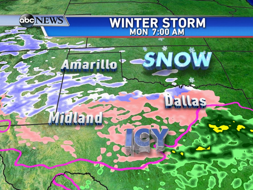 PHOTO: On Monday morning, snow, sleet, and freezing rain is expected from the southern Rockies into parts of Texas.