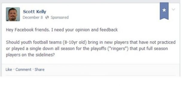 ht Scott Kelly Facebook Post kb 131212 16x9 608 Dads Complaint About Ringers Gets Son Booted From Football Team