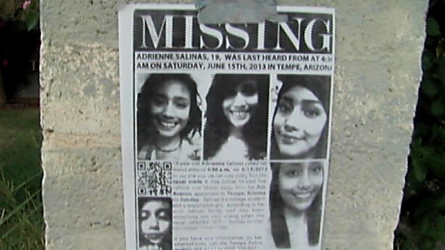 PHOTO: A missing person poster for Adrienne Salinas, who disappeared during a night on drinking in Tempe, Ariz. on June 15, 2013.
