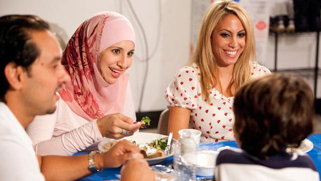 "PHOTO: The cast of TLC's ""All-American Muslim"" show have dinner at the Aoude residence."