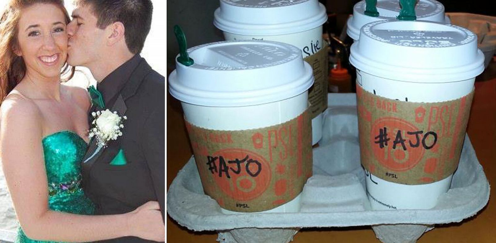 PHOTO: After the death of Alyssa ONeill (pictured at left), her familys pumpkin spice latte act of kindness, at right, has gone viral and spread all over the world.
