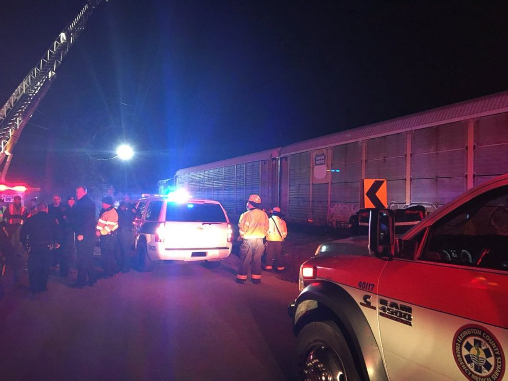 PHOTO: The scene near a collision that occurred Feb. 4, 2018 between an Amtrak passenger train and a freight train in South Carolina.