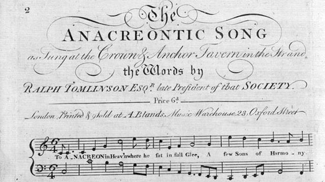 "PHOTO: The melody Francis Scott Key used for his star spangled banner song was the popular English tune known as ""To Anacreon in Heaven"", heard in the anacreontic song."
