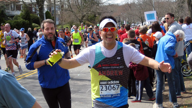 PHOTO: Andrew Quan was one of the 5,742 runners who were sidelined when bombs exploded at the Boston Marathon finish line.