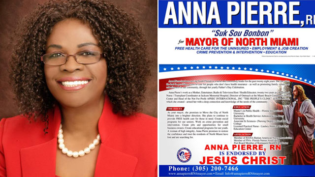 PHOTO: North Miami mayoral candidate Anna Pierre, left, and one of her campaign flyers, right.