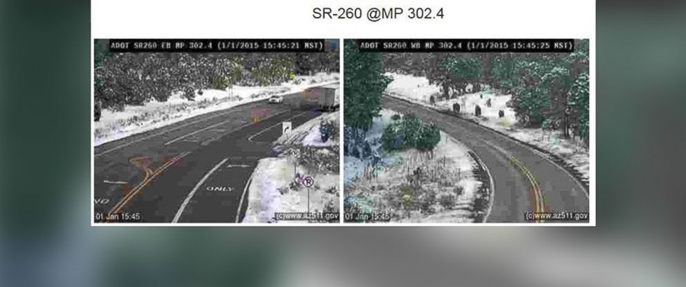 """PHOTO: Arizona Department of Transportation posted this photo of a street Facebook, Jan. 1, 2015, with the caption: """"We might have spotted a family of sasquatches on SR 260 near Heber this afternoon."""""""