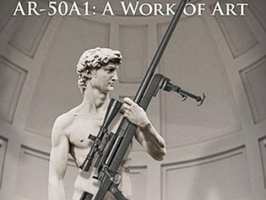 Gunmaker Arms Michelangelo's David Statue With Rifle, Angers Italy