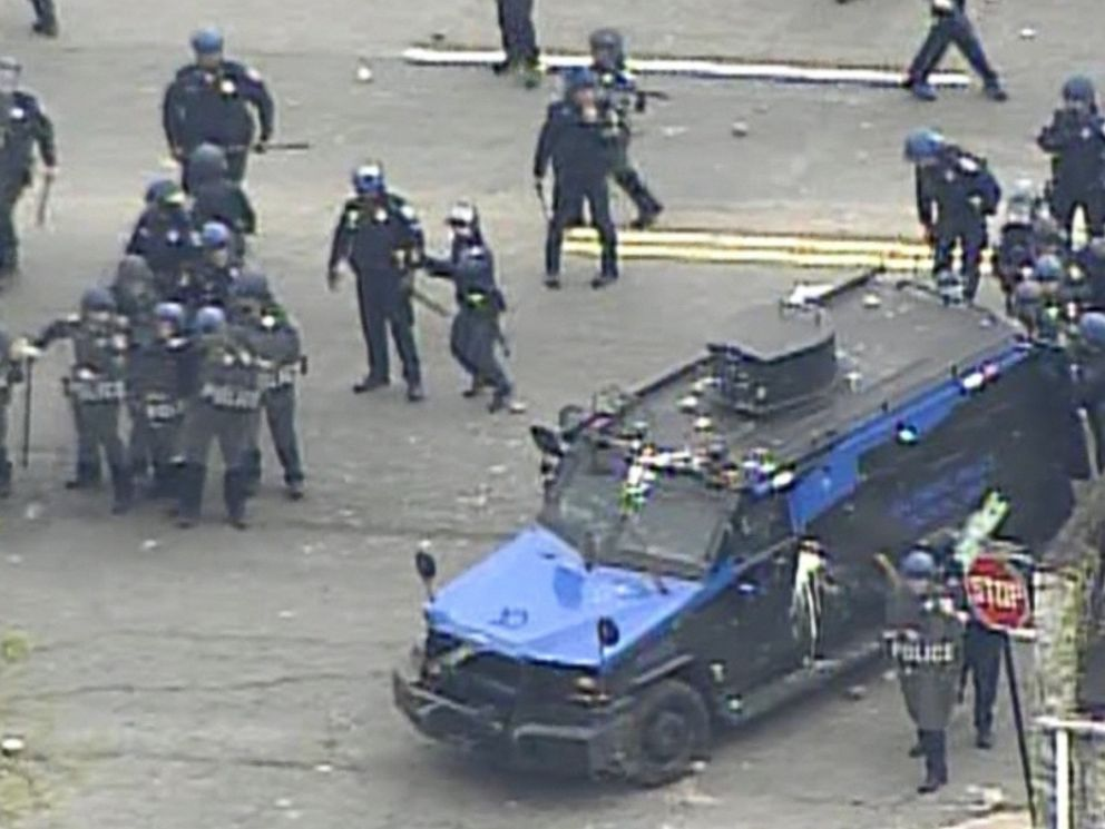 PHOTO: Police are pictured in Baltimore on April 27, 2015.