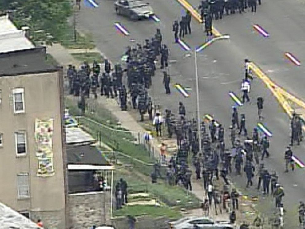 PHOTO: Protestors are pictured in Baltimore on April 27, 2015.