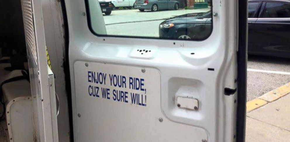 PHOTO: A sign on the inside of a Baltimores police van.