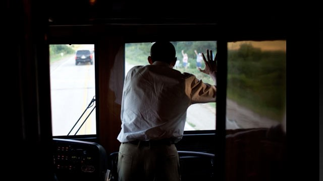 PHOTO:&nbsp;President Barack Obama waves to people along the road in Decorah, Iowa, Aug. 15, 2011, during a three-day bus tour in the Midwest focusing on ways to grow the economy.