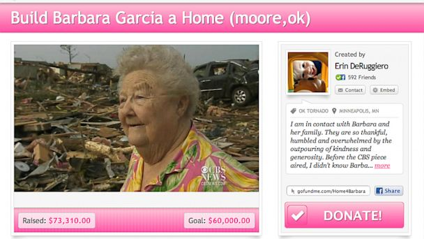 PHOTO: A GoFundMe fundraiser has been established to help rebuild Barbara Garcias home, which was destroyed by a tornado in Moore, Okla. in May, 2013.
