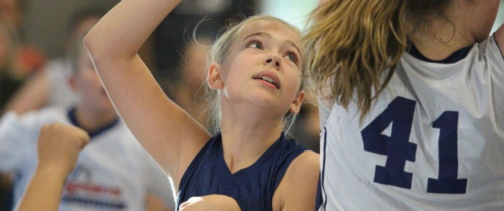 PHOTO: McKenna Peterson, seen here playing basketball, is fighting for girls to have a greater presence in sports.