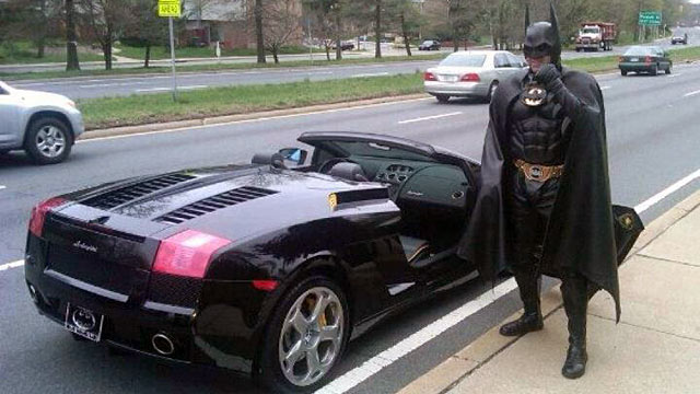 PHOTO: The Montgomery County Police Department pulled over a man dressed as Batman, March 21, 2012 in Silver Spring, Md.