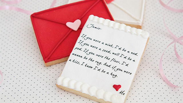 ... love letter cookie card, a 'Made in America' gift for Valentine's Day