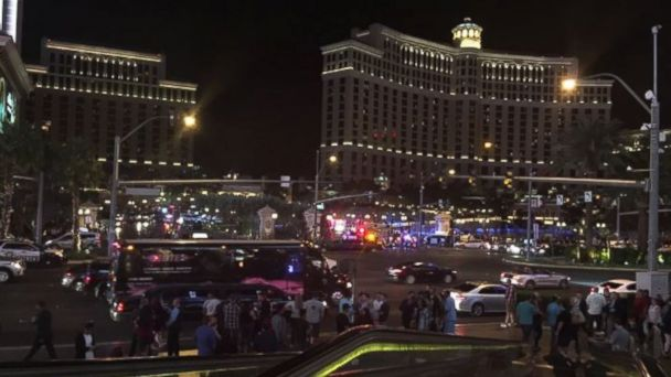 PHOTO: The scene outside the Bellagio in Las Vegas on March 25, 2017, after an active shooter scare turned out to be false, police said, adding it was a burglary they were investigating.
