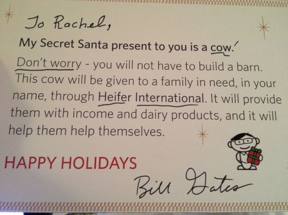 PHOTO: Reddit user Rachel posted a list of gifts she hoped to get from her Reddit Secret Santa who turned out to be Microsoft founder Bill Gates.