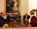 PHOTO: Mayor Michael Bloomberg met with Gabby Giffords and her husband, Mark Kelly, at City Hall in New York City, Jan. 3, 2013.