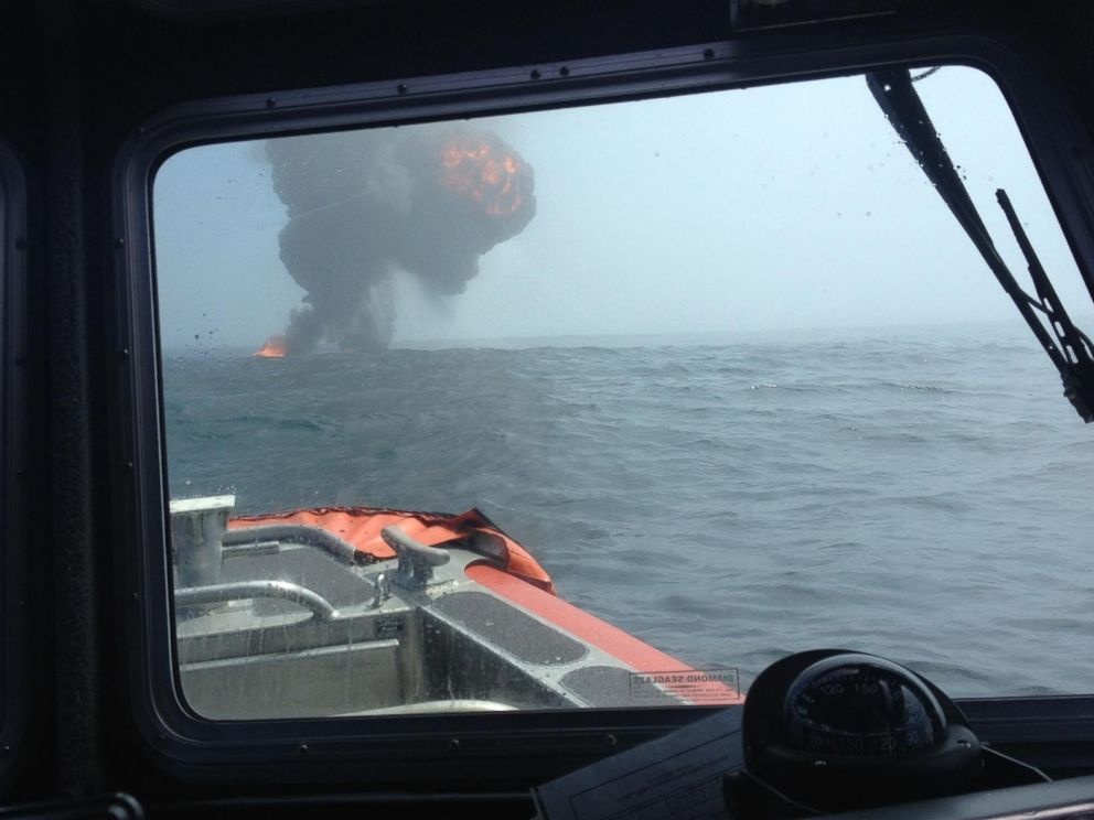 PHOTO: In this photo taken from a Coast Guard response boat, the vessel is shown exploding shortly before it split in half and sank.