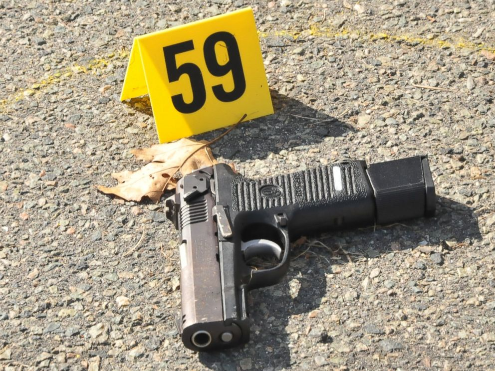 PHOTO: Evidence presented against Dzhokhar Tsarnaev in the Boston Marathon bombing case included this Ruger 9mm pistol, found in the aftermath of a firefight Tsarnaev and his brother had with police days after the marathon bombing.
