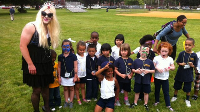 PHOTO: Principal Justin Vernon, dressed as Lady Gaga, poses with students from the Roger Clap Innovation School.